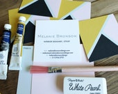 Three Triangle Calling Cards / Business Cards/ Blogger Cards - Set (50) Black Blush Gold