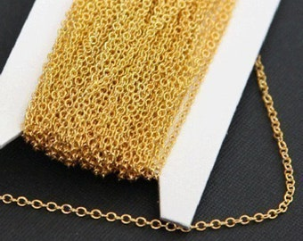 32 ft  of Gold plated Brass round cable chain 2x2.5mm
