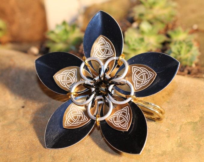 Faerie Flower - Celtic Etched Bronze on Black  - Kilt Pin