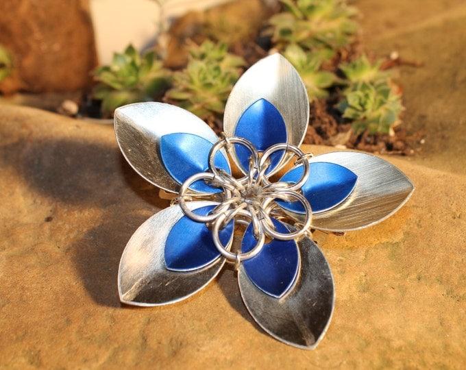 Faerie Flower Barrette - Blue on Gold - Hair Clip