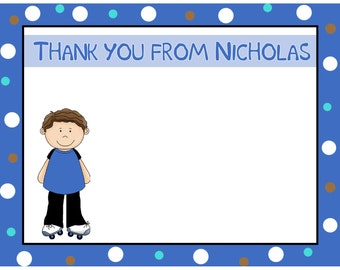 20 Personalized Thank You Cards - ROLLER SKATING BOY