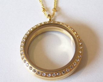 Stainless Steel 30mm Large Round Brushed Gold Locket with CZ Stones, chain included