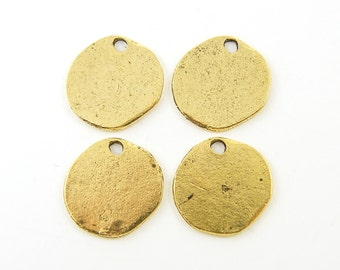 Small Hammered Round Gold Rustic Coin Tribal Charm Earring Finding Circle |Q1-11|4