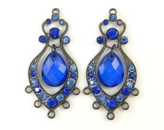 Blue Chandelier Earring Findings Gunmetal Boho Antique Silver Blue Rhinestone Ornate Drop Earring Jewelry Component  B6-6 2