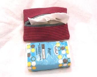pocket tissue holder, Kleenex holder, tissue holder, travel tissue cozy - Dark Pink Houndstooth