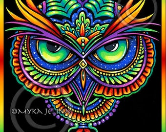 Psychedelic Rainbow Owl Trippy Hippie Owleister Ltd Edition Canvas ACEO