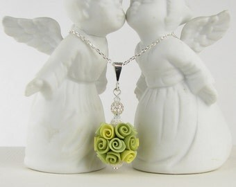 Necklace - Green Roses Bauble Pendant - Polymer Clay & Sterling Silver With Swarovski Crystals
