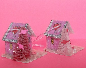 Vintage Putz Style Tiny Miniature Candy Pink Valentines Glitter Sugar House With Heart and Lace Roof Ornament choice of Pink or Red Tree