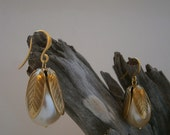 Miriam Haskell vintage pearls with 24K Russian gold bell caps earrings (Reserved)