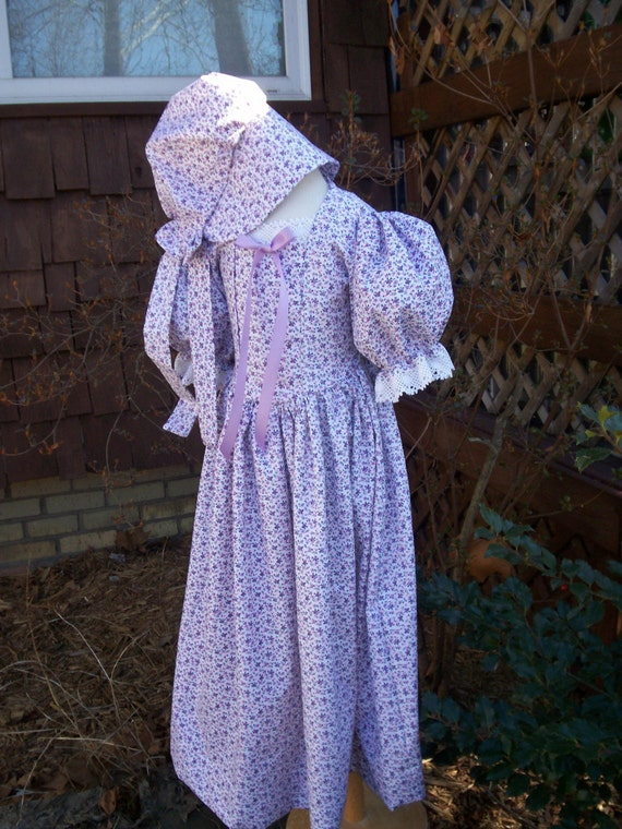 Vintage Style Children's Clothing: Girls, Boys, Baby, Toddler Girls Prairie/Pioneer Dress.. Early Victorian Costume.. Made to order only(PLEASE read lead time inside ad) $64.00 AT vintagedancer.com