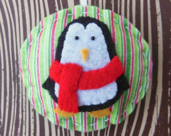 Felt Penguin Christmas Ornament - Cozy Winter Penguin No. 3 - SALE