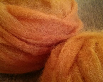 Pumpkin Orange Wool Roving
