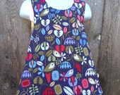 Pinafore Size 2T --- Gray (hearts birds flowers chevron and READY to ship)