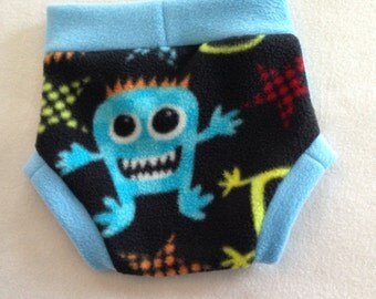 Diaper Cover --- Monsters Anti Pill Fleece