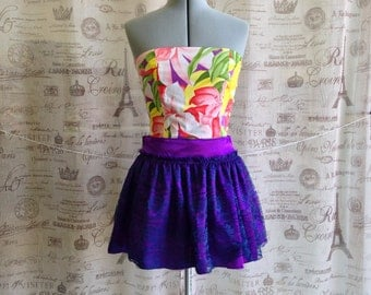 Yellow and Purple Hawaiian Print Bustier Bodice Strapless Top w Side Buttons Sz S M