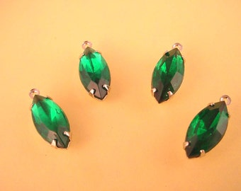 4 Vintage Green Emerald Rhinestone Navette prong  Charms silver tone 15x7