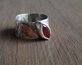 Sterling Silver Red Garnet Ring - Hammered Copper Leaf Ring - Rustic Boho Mixed Metal Ring - Marquise Garnet Ring - January Ring