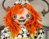 Primitive Raggedy Ann Handmade Cloth Doll- Hailey Annie HAFAIR