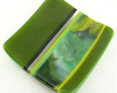 Striped Organic Fused Glass Sushi Plate Dish in Olive Green Black Yellow