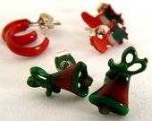 3 Pair Vintage Christmas Post Earrings, Red Hoops, Holiday Bell Post Earrings, Xmas Stocking Post Earrings, Christmas Earrings (E231)