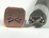 Crossed Axes stamp design professional grade Fireman emblems for stainless and all metals