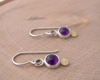 Amethyst Gold Dot Dangle Earrings Rose Cut Sterling Silver Purple Earrings February Birthstone Modern Simple Drop
