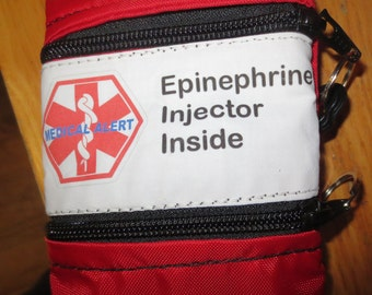 Medical alert Epi Pen® or Auvi-Q ® case pouch carrier INSULATED zippered bag with additional pocket--color choice