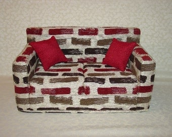 18 Inch Doll Sofa, Burgundy, Black, Brown - Grey - Brushstrokes -  Handmade