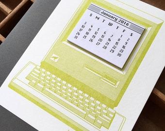 letterpress vintage computer mini calendar 2016