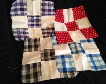 Set of 4 Vintage Nine Patch Quilt Blocks