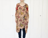 Floral kaftan top, boho top, tent dress, floral tunic, sheer kaftan top, sheer blouse,1920s inspired top
