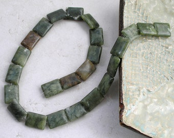 Green Serpentine Beads 16mm x 13mm Rectangle For Beaded Jewelry Making Metaphysical Healing Stone