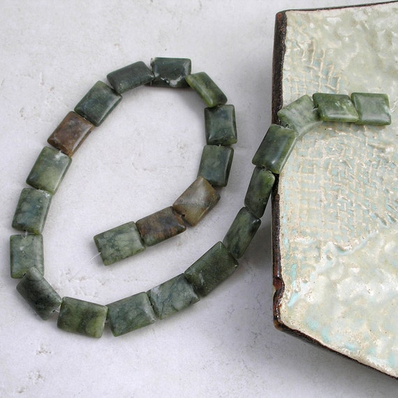 Green Serpentine Beads- Rectangle Gemstone Strand For Jewelry Making