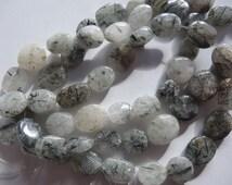 8 inch Strand Natural Tourmalinated Quartz Puffy Oval Stone Beads A819