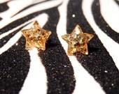 Gold Star Earrings, Studs, Metallic Glitter, Minimalist, Kitsch Kawaii