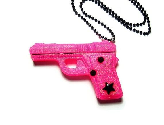 Pink Gun Necklace, Resin, Neon Glitter Pistol, Lolita Kawaii
