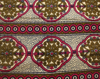 African print fabric, Sold by the Yard, Pink and cream fabric, Wax Print,  African Wax Print, Medallion, Tissu African, 100% Cotton