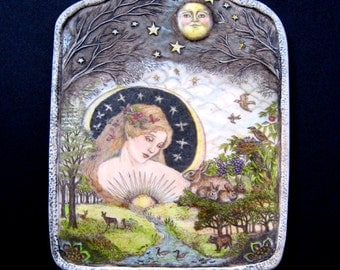 Earth Mother Nature Goddess engraved  wall plaque scrimshaw resin