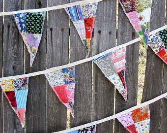 Patchwork Flag Garland with Charming Mid Century Vintage Prints