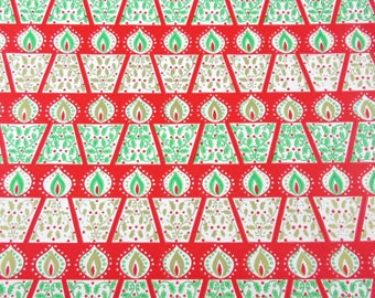 Vintage Red Green and Gold Christmas Wrapping Paper or Gift Wrap with Candles Holly Berries