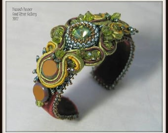 NEWLY UPDATED! Bead Pattern Soutache Cuff Bracelet tutorial instructions - peyote stitch and embroidery beading