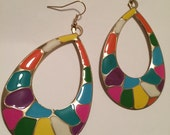 Giraffe carnaval animal safari multi painted epoxy couture light weight earring fabulous doll diva tear drop shaped