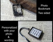 Personalized Bookmark, Soldered Glass Photo Charm, Memorial Picture Keepsake, Picture Frame Charm, Wedding Bible Accessory