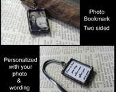 Personalisierte Lesezeichen gelötet Glas Foto Charme, Memorial Bild Andenken, Bild Rahmen Charme, Hochzeits-Bibel-Zubehör