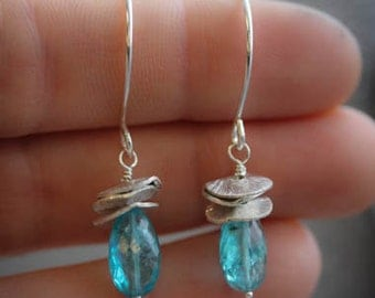 Sterling Silver and Apatite Earrings, Apatite Drop Earrings, Dangle Earrings, Ready to Ship