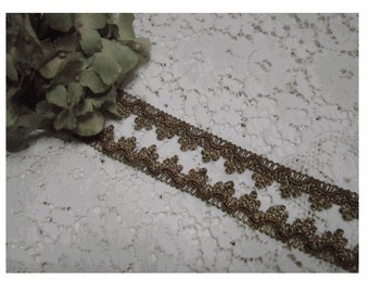 VINTAGE Medium MeTTALIC Gold Lace and Copper Swag TRIM - Yardage - AnCIENT RuSTIC Look