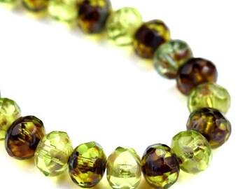 Czech Glass Beads Fire Polished Gemstone Donuts 5x7mm Green Picasso Mix (12) CZF746
