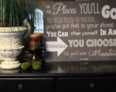 """Medium 24x18 Dr Seuss Oh The Places You""""ll Go Chalkboard Style Sign Board"""
