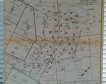 1963 Map , Oil Well, Pan American Petroleum , Corpus Christi District, Burnell Field, Oil Saturation Map Reklaw Sand ,Texas