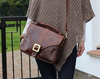 Leather Handbag Purse Satchel in Vintage Brown